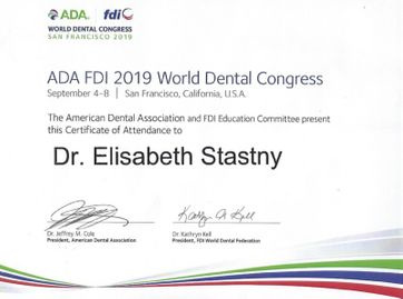 ADA FDI 2019 World Dental Congress - San Francisco - Teilnahmebestätigung